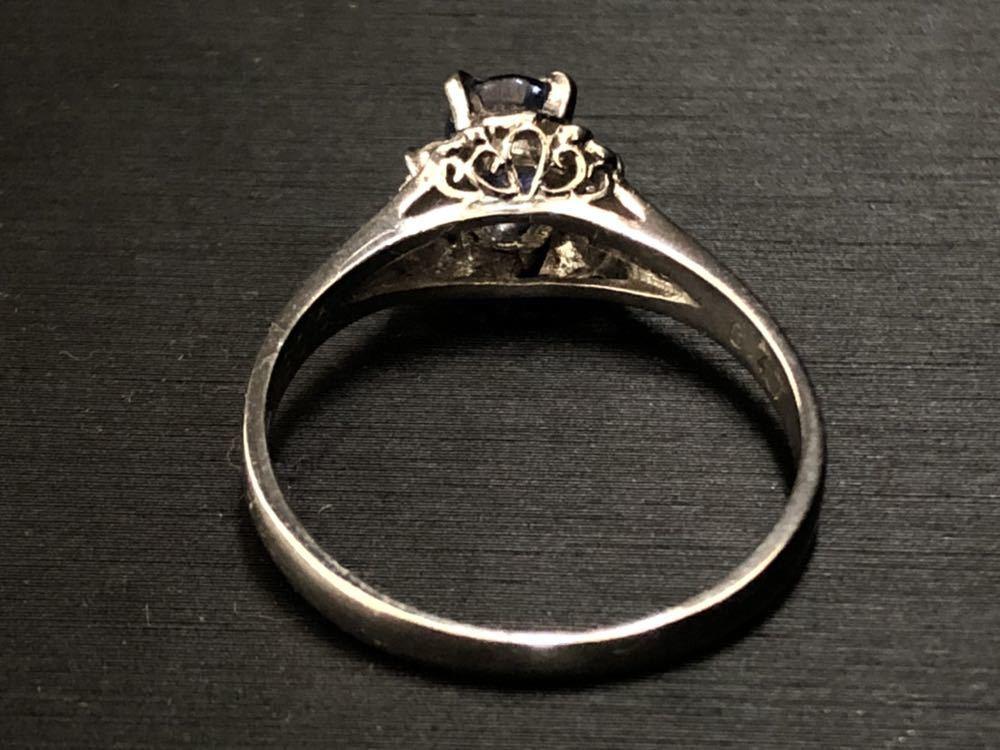 Pt900 サファイア sapphire 0.77ct diamond ダイヤ付 プラチナ platinum 指輪 リング 16号 4.4g_画像3