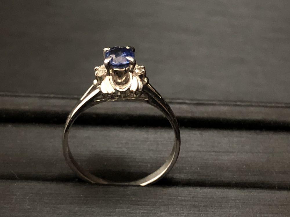 Pt900 サファイア sapphire 0.77ct diamond ダイヤ付 プラチナ platinum 指輪 リング 16号 4.4g_画像2