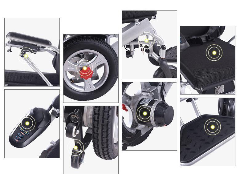 超美品 電動車椅子 老人 介助車椅子 リチウム電池 折り畳み可能 旅行 アルミニウム合金 ブラシなしモーター 折り畳み 家庭用 8107_画像4