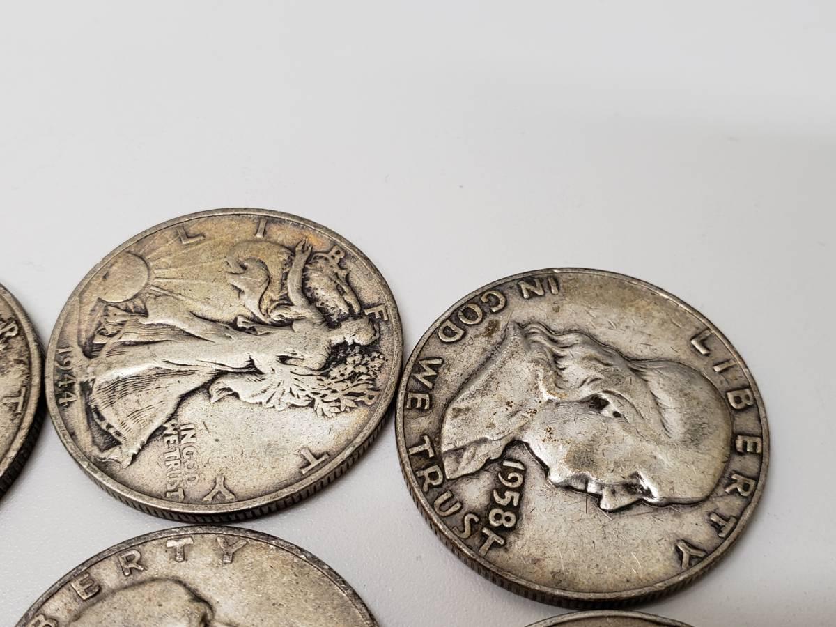 4840■外国貨幣 アメリカ50セント銀貨 7枚 まとめ ウォーキングリバティ ベンジャミンフランクリン ハーフダラー硬貨1/2ドルシルバー_画像5