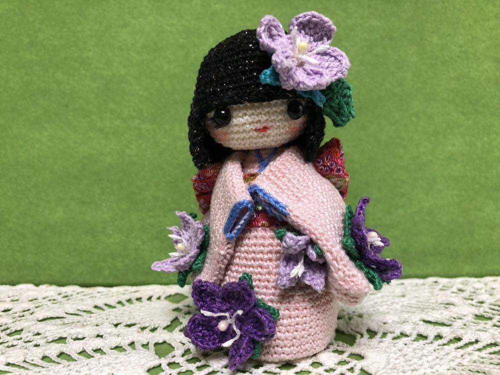 ハンドメイド 桔梗の着物を着たこけし 女の子 あみぐるみ こけし 着物 レース編み 手芸 創作こけし ぬいぐるみ 文化人形 日本 kokeshi 和