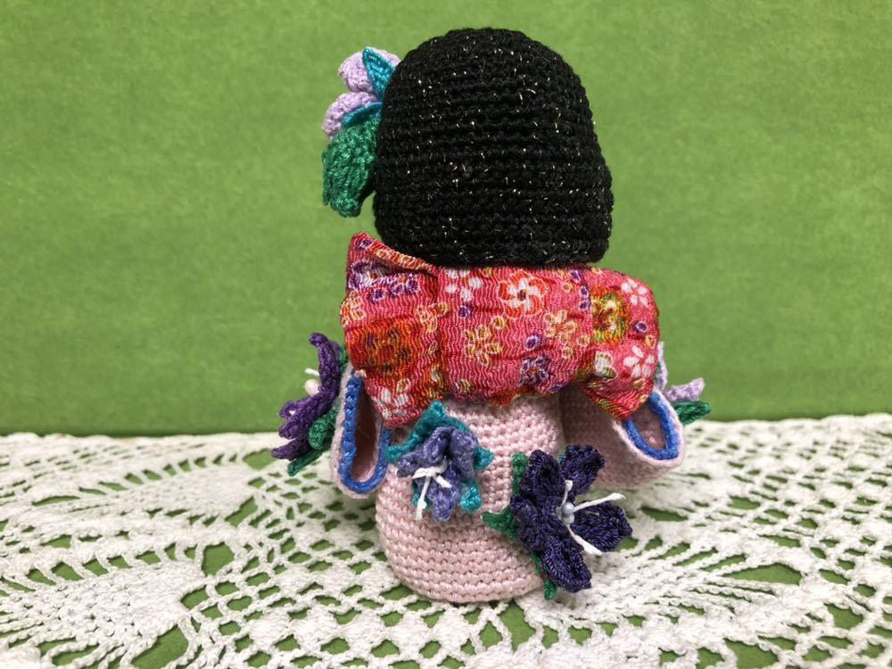 ハンドメイド 桔梗の着物を着たこけし 女の子 あみぐるみ こけし 着物 レース編み 手芸 創作こけし ぬいぐるみ 文化人形 日本 kokeshi 和_画像3