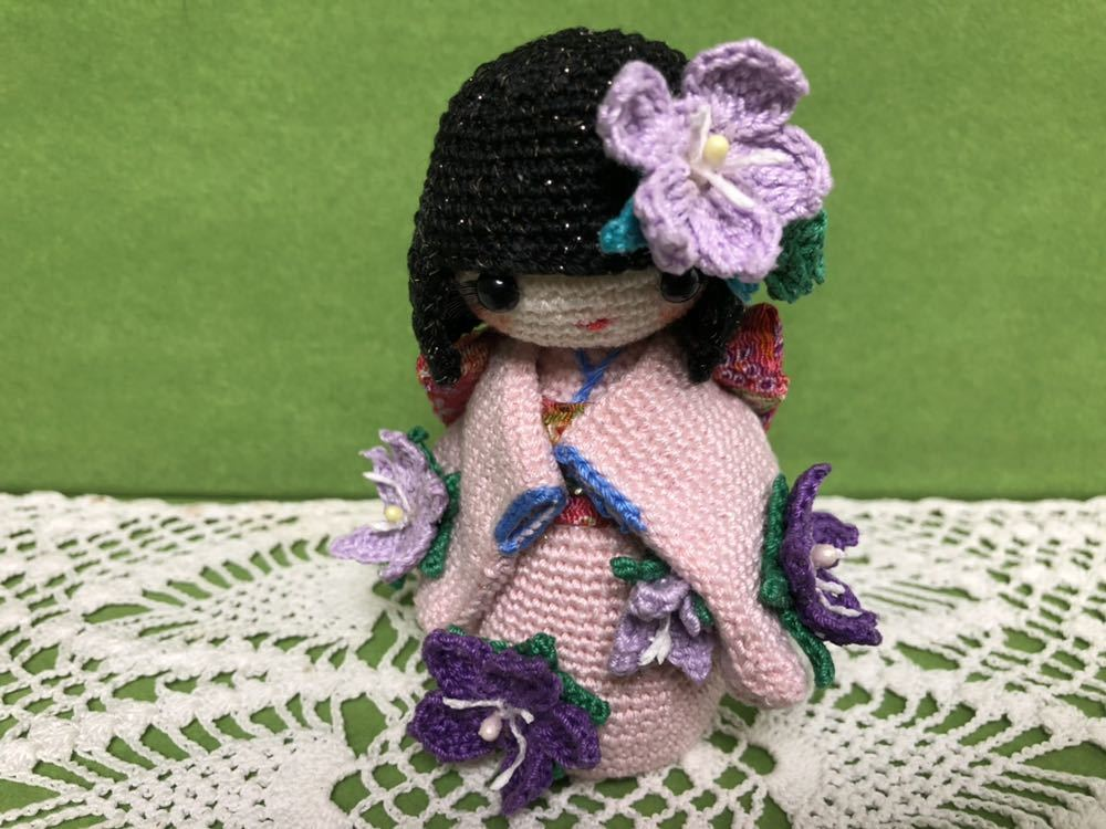 ハンドメイド 桔梗の着物を着たこけし 女の子 あみぐるみ こけし 着物 レース編み 手芸 創作こけし ぬいぐるみ 文化人形 日本 kokeshi 和_画像6