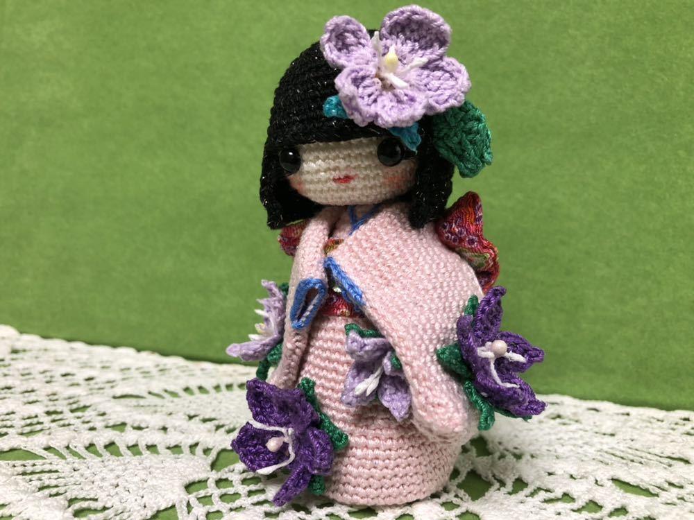 ハンドメイド 桔梗の着物を着たこけし 女の子 あみぐるみ こけし 着物 レース編み 手芸 創作こけし ぬいぐるみ 文化人形 日本 kokeshi 和_画像2