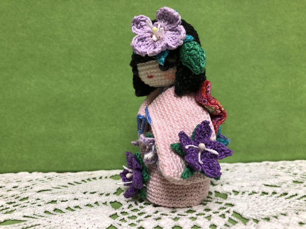 ハンドメイド 桔梗の着物を着たこけし 女の子 あみぐるみ こけし 着物 レース編み 手芸 創作こけし ぬいぐるみ 文化人形 日本 kokeshi 和_画像4