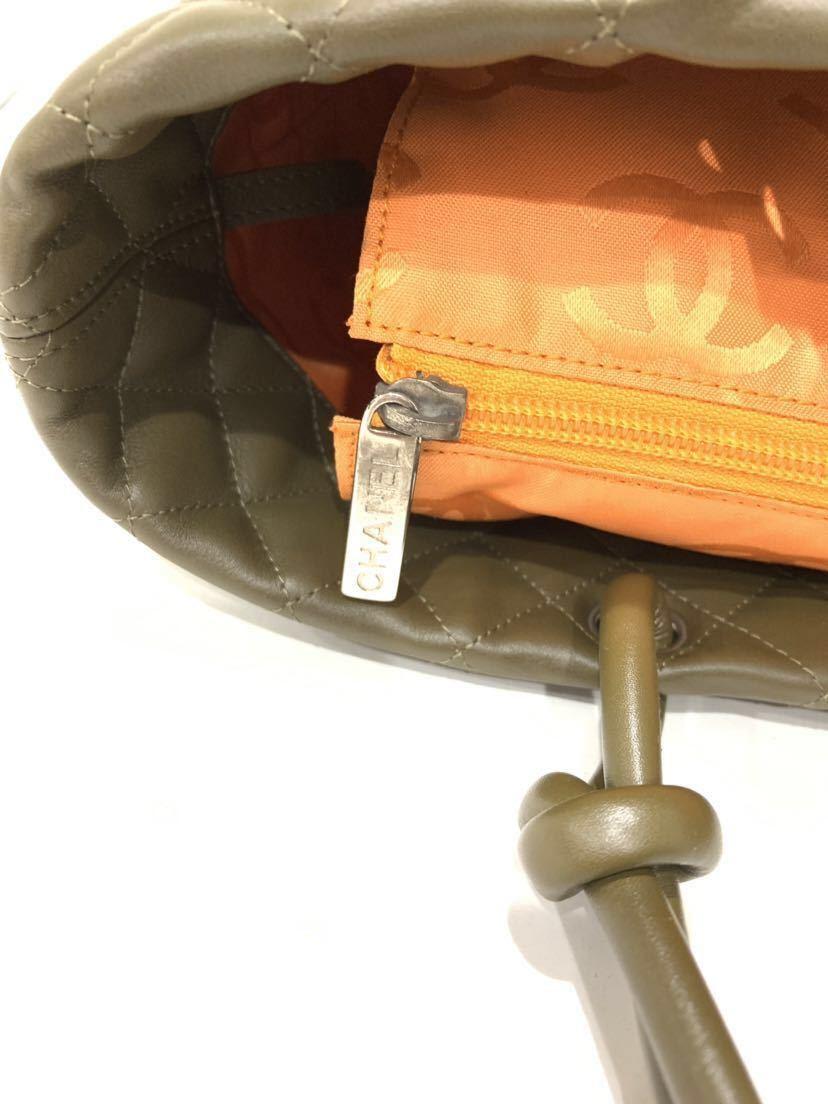 【超美品】★本物保証★CHANEL シャネル カンボンライン ラムスキン A25169 トートバッグ ハンドバッグ カーキ (M19)_画像6