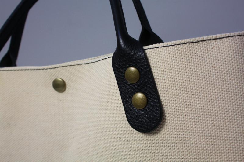 キャンバス 厚手4号帆布 トートバッグ シンプル 軽量 ハンドメイド イタリアンレザー持ち手 生成り×ブラック A4_画像4