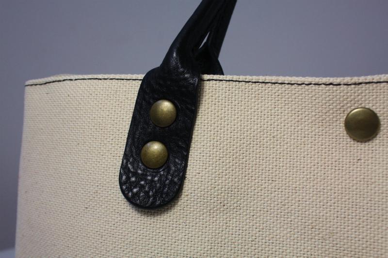 キャンバス 厚手4号帆布 トートバッグ シンプル 軽量 ハンドメイド イタリアンレザー持ち手 生成り×ブラック A4_画像5