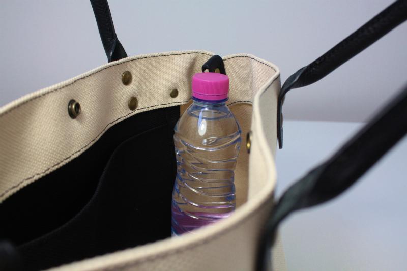 キャンバス 厚手4号帆布 トートバッグ シンプル 軽量 ハンドメイド イタリアンレザー持ち手 生成り×ブラック A4_画像8