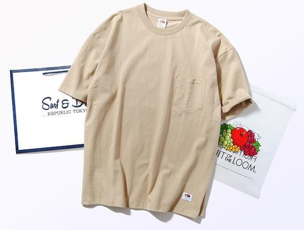 Fruit Of The Loom ヘビーウェイトビッグTシャツ ベージュM 厚手 ヘビー 半袖 カットソー ルーズシルエット フルーツオブザルーム ブランド