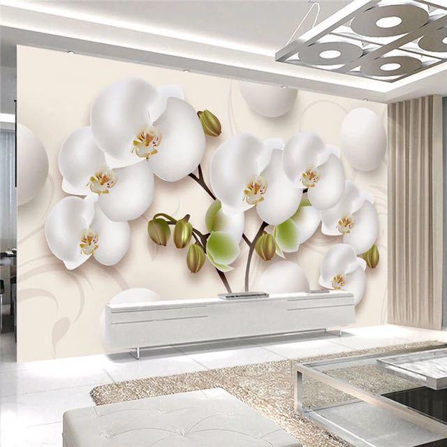 3D 壁紙現代 HD ステレオ蘭白花写真壁の壁画リビングルームのテレビのソファの背景の壁家の装飾 Papel 壁画 3D_画像1