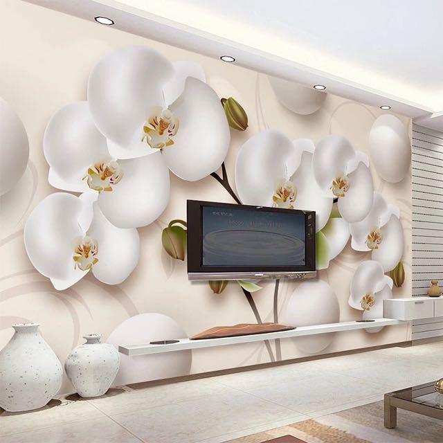 3D 壁紙現代 HD ステレオ蘭白花写真壁の壁画リビングルームのテレビのソファの背景の壁家の装飾 Papel 壁画 3D_画像2