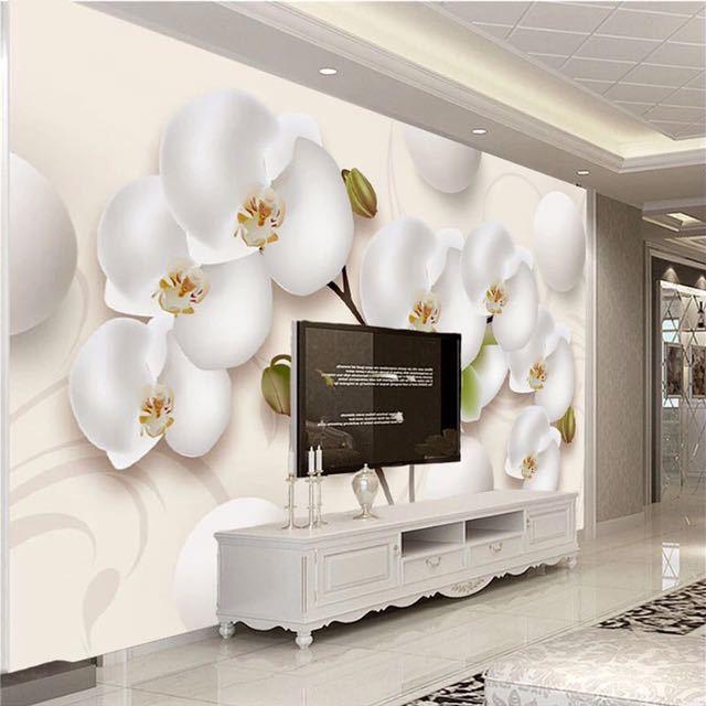 3D 壁紙現代 HD ステレオ蘭白花写真壁の壁画リビングルームのテレビのソファの背景の壁家の装飾 Papel 壁画 3D_画像3