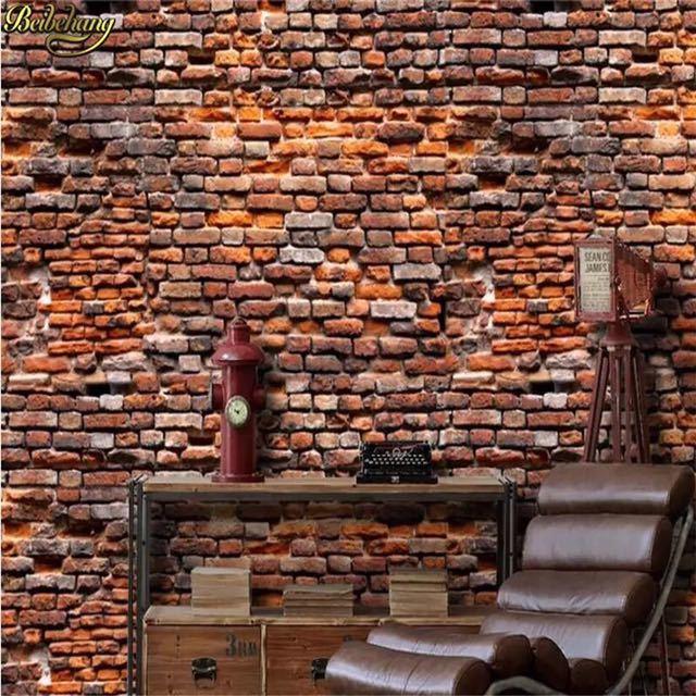 Beibehang papel デ parede カスタムレトロ赤レンガの壁紙 3 d 風景リビングルームのベッドルームの 3d 写真壁画壁紙_画像3