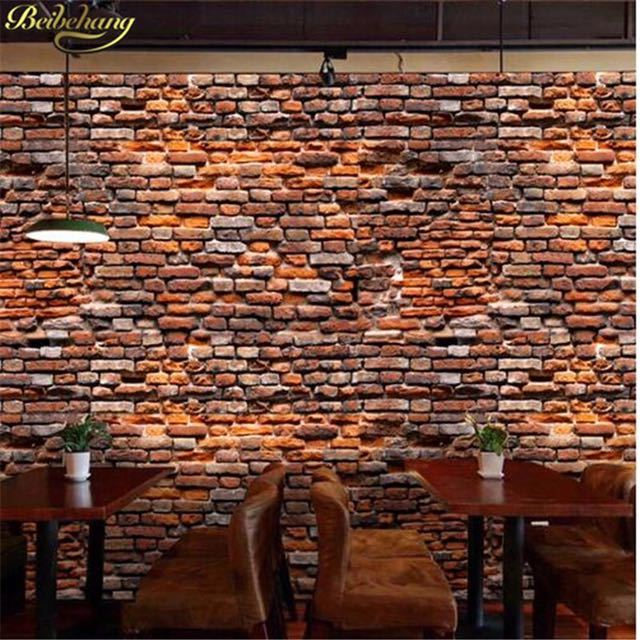 Beibehang papel デ parede カスタムレトロ赤レンガの壁紙 3 d 風景リビングルームのベッドルームの 3d 写真壁画壁紙_画像4