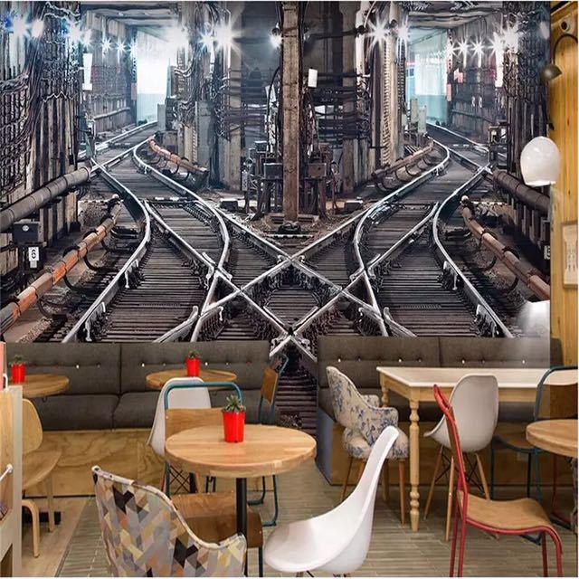 Beibehang 大型カスタム壁紙壁画 3D ステレオ鉄道トンネルレトロ背景壁 papel デ parede 3d papel デ parede_画像2