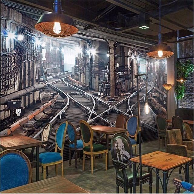 Beibehang 大型カスタム壁紙壁画 3D ステレオ鉄道トンネルレトロ背景壁 papel デ parede 3d papel デ parede_画像1