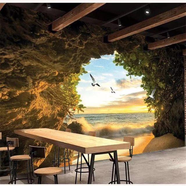 Beibehang カスタム壁紙 3d 写真壁画洞窟海水カモメリビングルームベッドルームのテレビの背景壁紙 3d papel デ parede_画像4