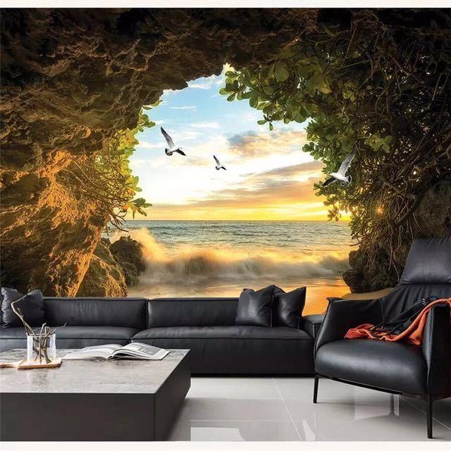 Beibehang カスタム壁紙 3d 写真壁画洞窟海水カモメリビングルームベッドルームのテレビの背景壁紙 3d papel デ parede_画像1