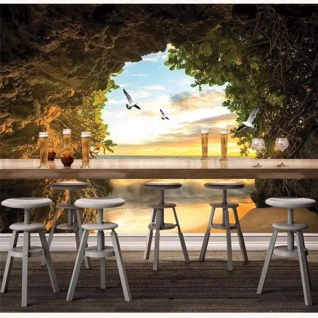 Beibehang カスタム壁紙 3d 写真壁画洞窟海水カモメリビングルームベッドルームのテレビの背景壁紙 3d papel デ parede_画像2