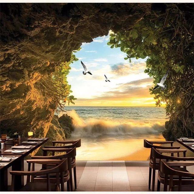 Beibehang カスタム壁紙 3d 写真壁画洞窟海水カモメリビングルームベッドルームのテレビの背景壁紙 3d papel デ parede_画像3