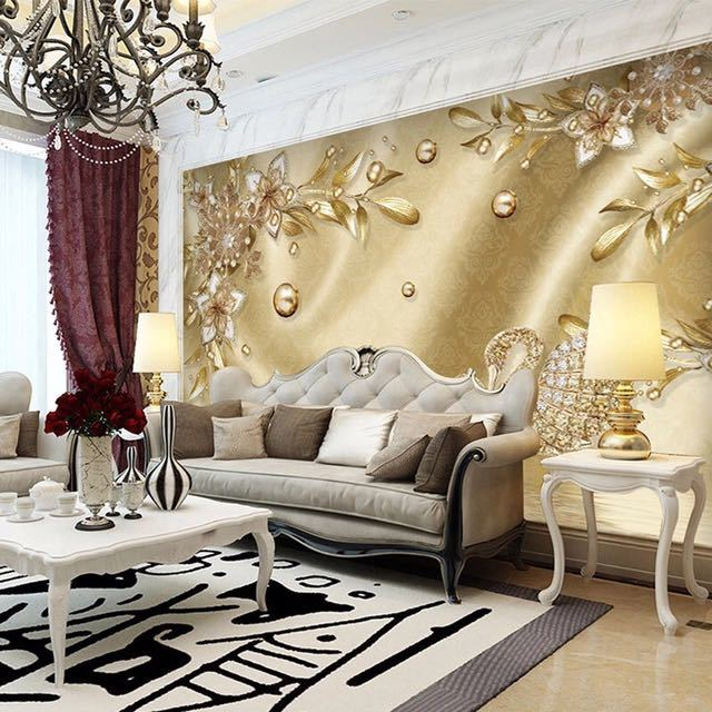 カスタム写真の壁紙 3D ステレオ黄金の花ジュエリーヨーロッパスタイル高級壁画リビングルームのテレビホテル背景壁画_画像3