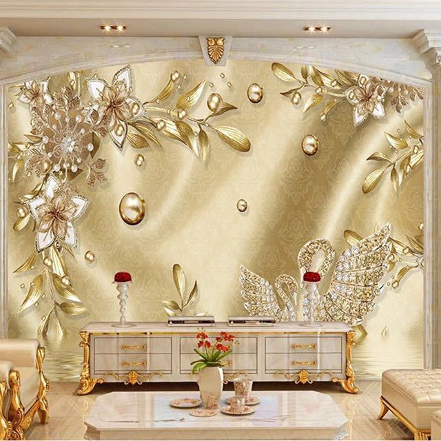 カスタム写真の壁紙 3D ステレオ黄金の花ジュエリーヨーロッパスタイル高級壁画リビングルームのテレビホテル背景壁画_画像2