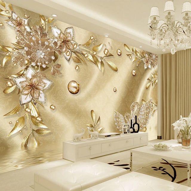 カスタム写真の壁紙 3D ステレオ黄金の花ジュエリーヨーロッパスタイル高級壁画リビングルームのテレビホテル背景壁画_画像1