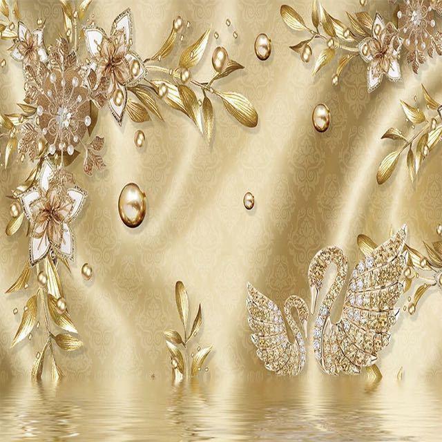 カスタム写真の壁紙 3D ステレオ黄金の花ジュエリーヨーロッパスタイル高級壁画リビングルームのテレビホテル背景壁画_画像4