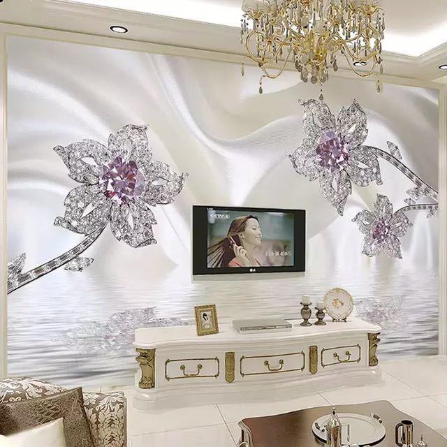 カスタム 3D 立体ジュエリーダイヤモンドホワイトラインシルクアート壁壁画壁紙リビングルームのテレビの背景 Murales デ パレー 3D_画像2