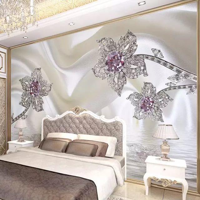 カスタム 3D 立体ジュエリーダイヤモンドホワイトラインシルクアート壁壁画壁紙リビングルームのテレビの背景 Murales デ パレー 3D_画像3