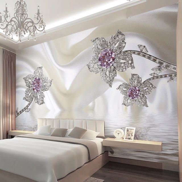 カスタム 3D 立体ジュエリーダイヤモンドホワイトラインシルクアート壁壁画壁紙リビングルームのテレビの背景 Murales デ パレー 3D_画像1
