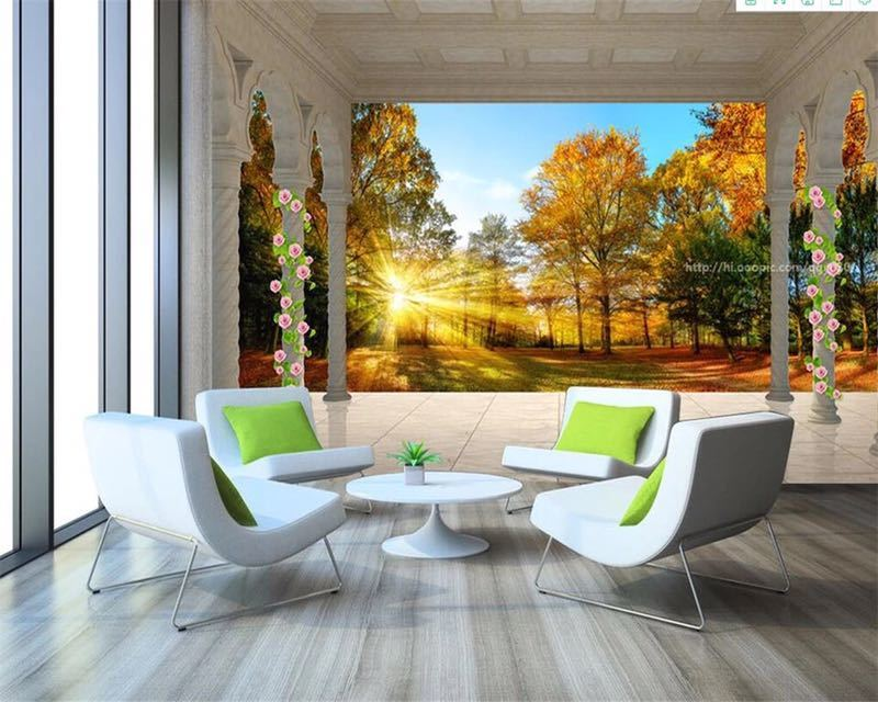 Beibehang カスタム壁紙ヨーロッパ秋の森の風景バルコニー 3D テレビの背景の壁リビングルームのベッドルームの壁画 3d 壁紙_画像6