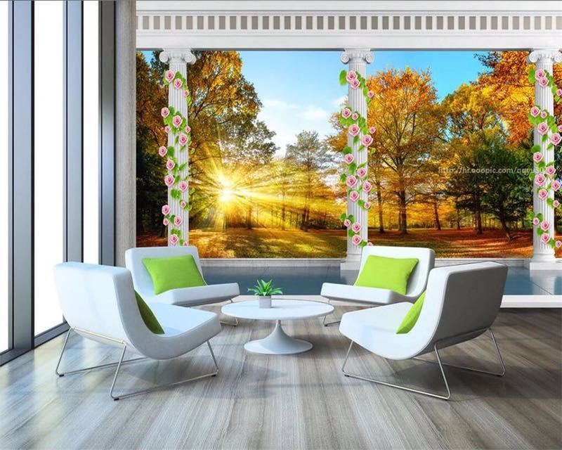 Beibehang カスタム壁紙ヨーロッパ秋の森の風景バルコニー 3D テレビの背景の壁リビングルームのベッドルームの壁画 3d 壁紙_画像3