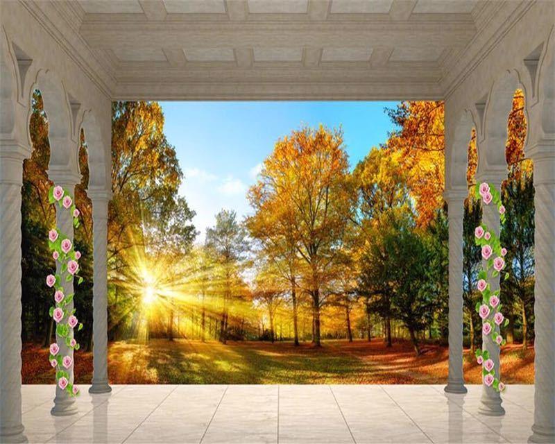 Beibehang カスタム壁紙ヨーロッパ秋の森の風景バルコニー 3D テレビの背景の壁リビングルームのベッドルームの壁画 3d 壁紙_画像5