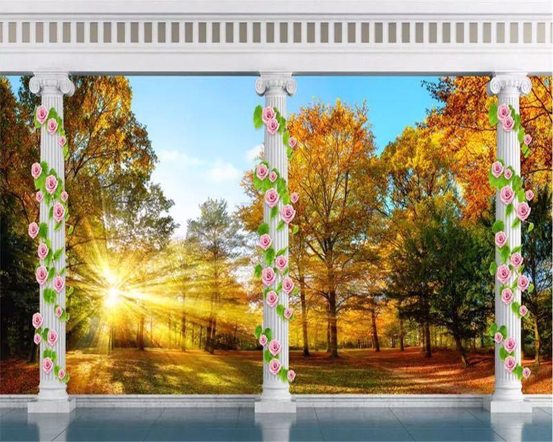 Beibehang カスタム壁紙ヨーロッパ秋の森の風景バルコニー 3D テレビの背景の壁リビングルームのベッドルームの壁画 3d 壁紙_画像2