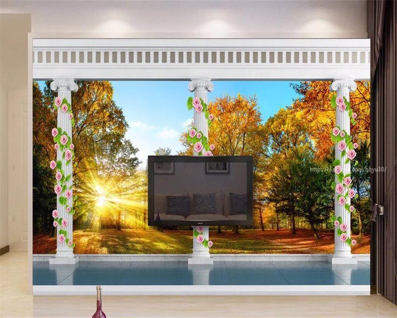 Beibehang カスタム壁紙ヨーロッパ秋の森の風景バルコニー 3D テレビの背景の壁リビングルームのベッドルームの壁画 3d 壁紙_画像4