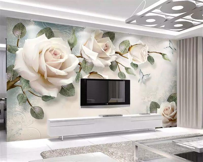 現代 3D 壁紙ハンドペイント油絵花ユーロ背景の壁の装飾壁画 papel デ parede 壁紙 beibehang_画像3