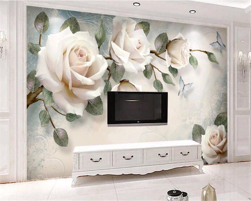 現代 3D 壁紙ハンドペイント油絵花ユーロ背景の壁の装飾壁画 papel デ parede 壁紙 beibehang_画像4