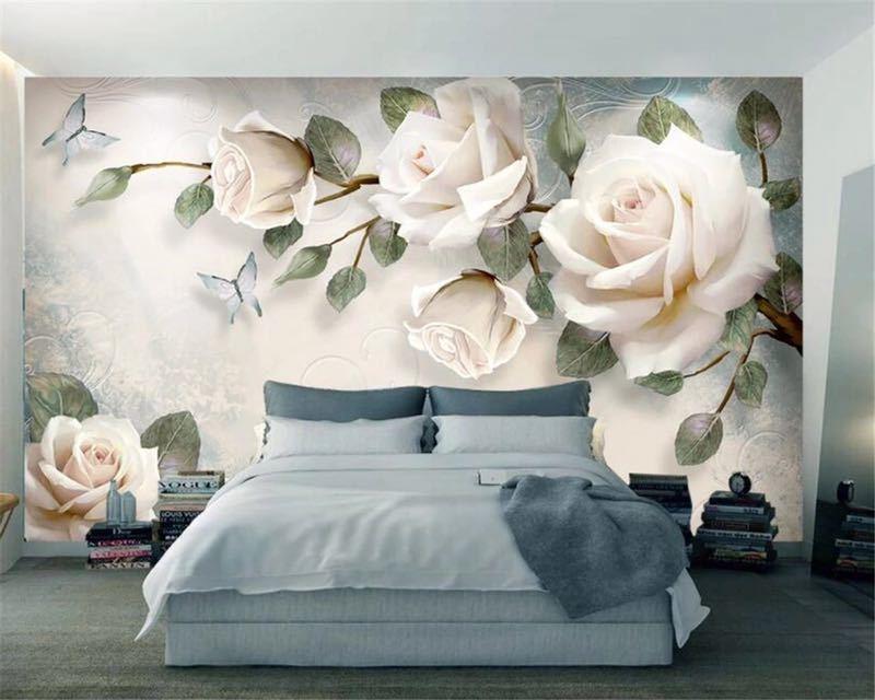 現代 3D 壁紙ハンドペイント油絵花ユーロ背景の壁の装飾壁画 papel デ parede 壁紙 beibehang_画像2