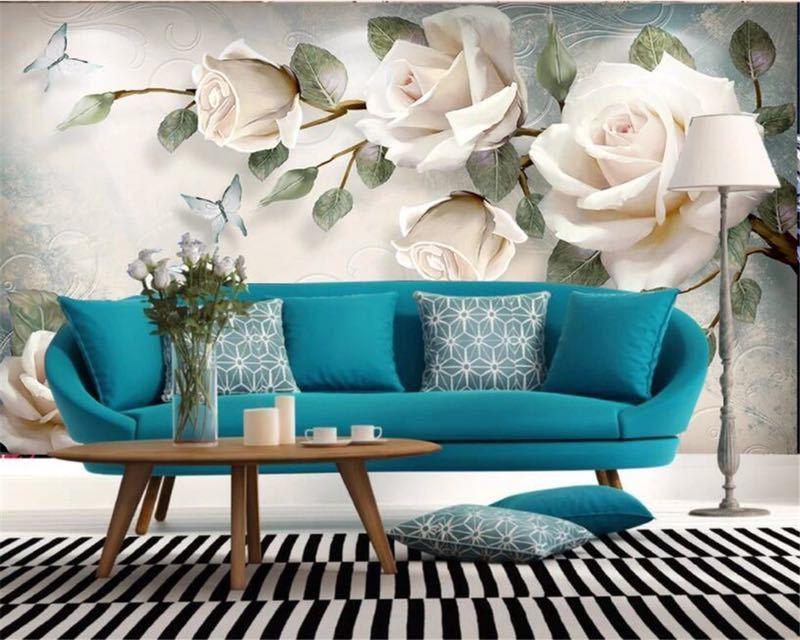 現代 3D 壁紙ハンドペイント油絵花ユーロ背景の壁の装飾壁画 papel デ parede 壁紙 beibehang_画像6