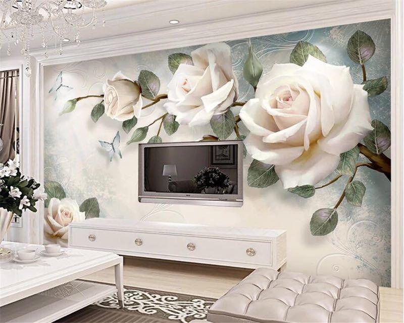 現代 3D 壁紙ハンドペイント油絵花ユーロ背景の壁の装飾壁画 papel デ parede 壁紙 beibehang_画像5