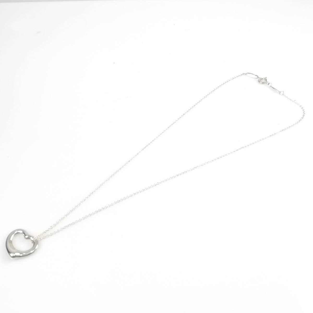 【送料無料】 美品 Tiffany&Co. ティファニー オープン ハート ネックレス シルバー SV925 レディース YL24_画像5