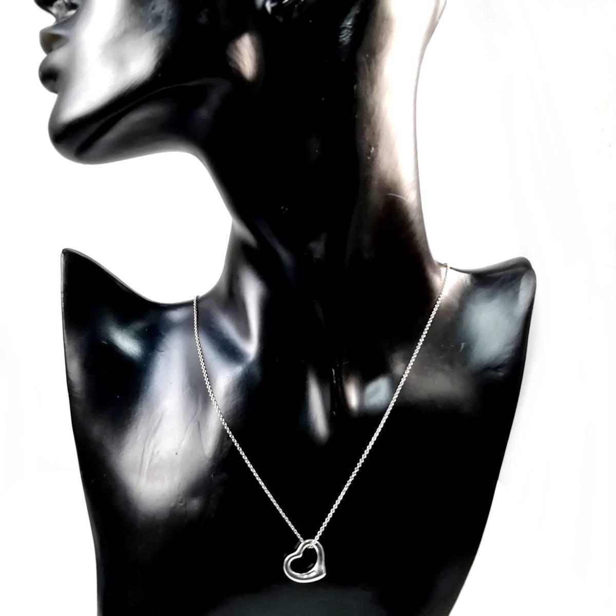 【送料無料】 美品 Tiffany&Co. ティファニー オープン ハート ネックレス シルバー SV925 レディース YL24_画像3