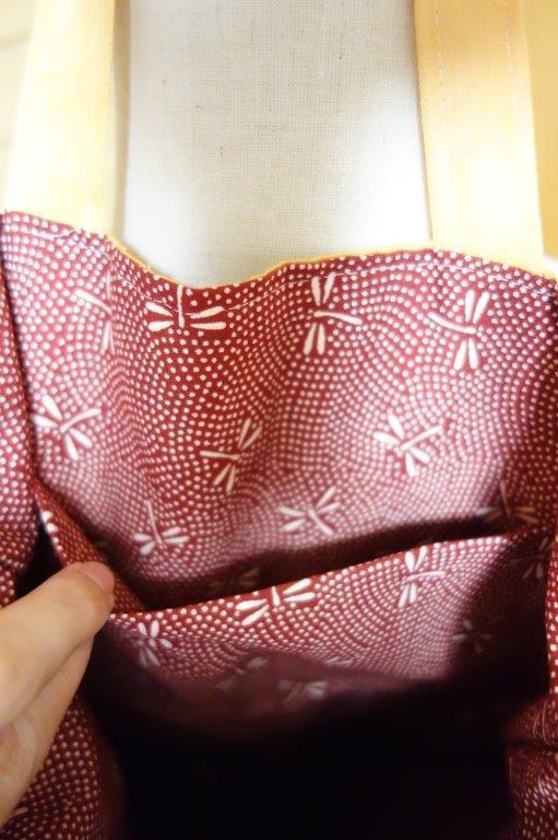 着物の生地のバッグ 刺繍 花 サブバッグ お稽古バッグ 和装バッグ 手提げトートバッグ 和洋兼用 レトロ_画像6