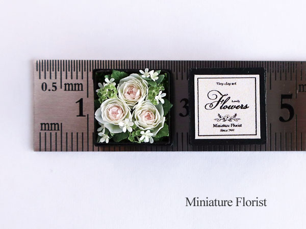 Miniature Florist 1/12 ミニチュア クレイフラワー ドールハウス 粘土の花 バラ ボックスフラワー _画像3