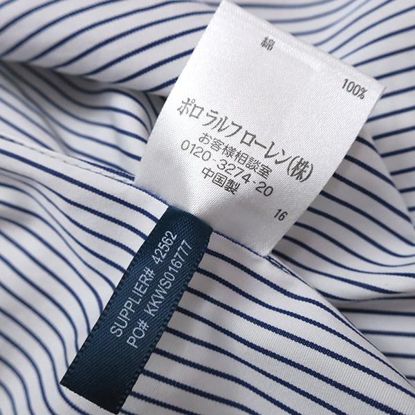 美品 ラルフローレン ピンストライプ◎5分袖シャツ ネイビー 6(L)_画像5