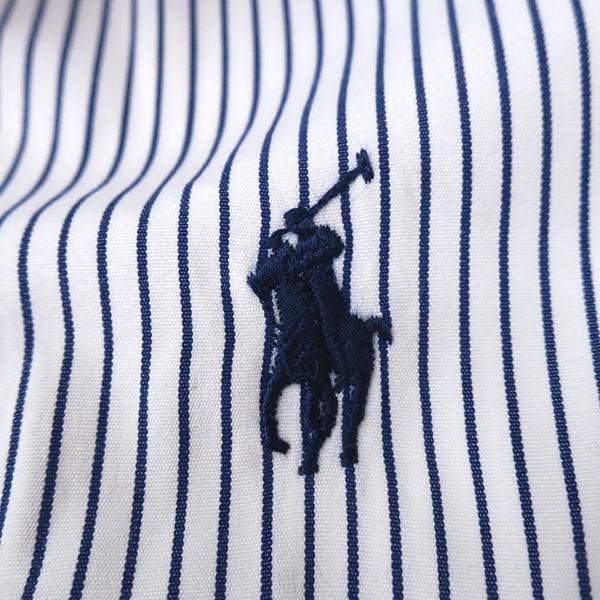 美品 ラルフローレン ピンストライプ◎5分袖シャツ ネイビー 6(L)_画像4