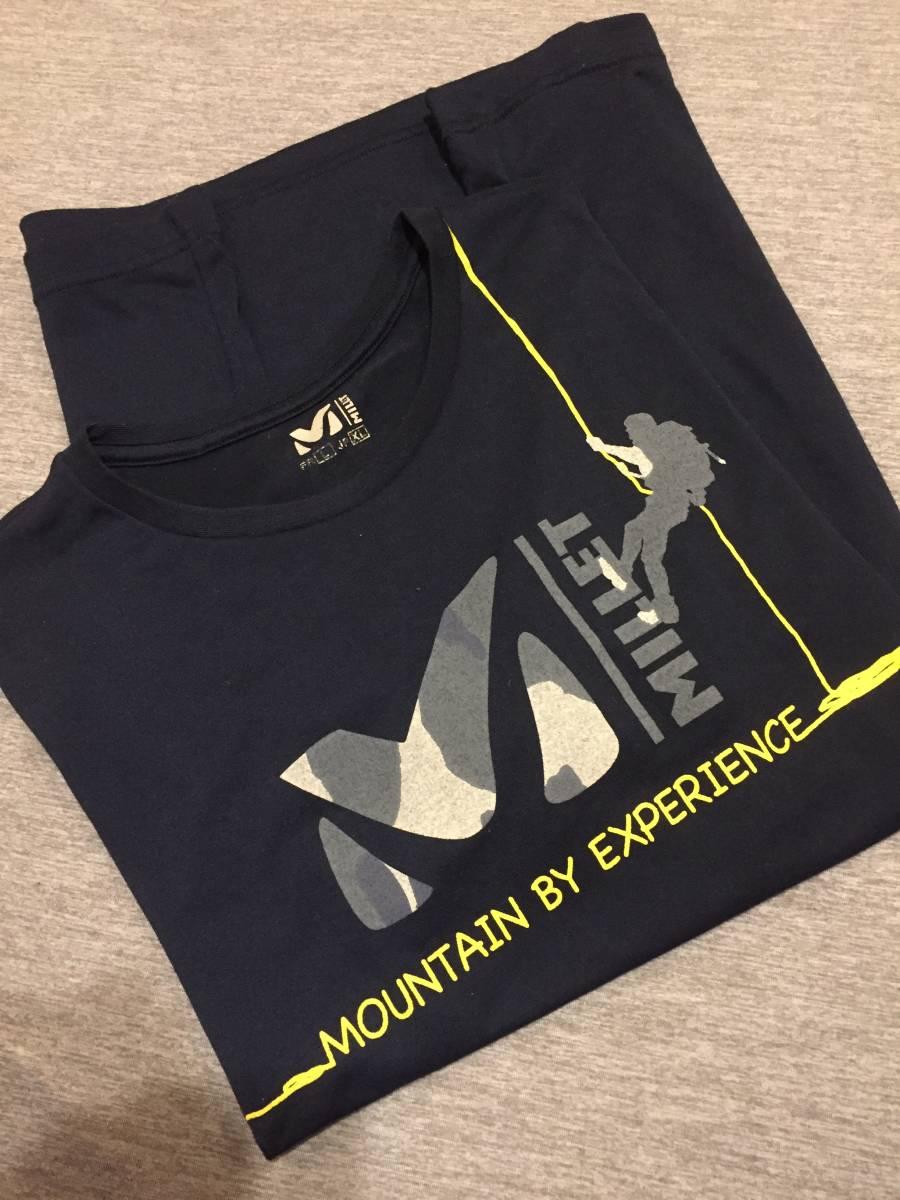 美品 MILLET ミレー トレッキング クルーネック 吸汗速乾 Tシャツ XLサイズ クライミング アウトドアアイテム 人気商品 ダークネイビー_画像3