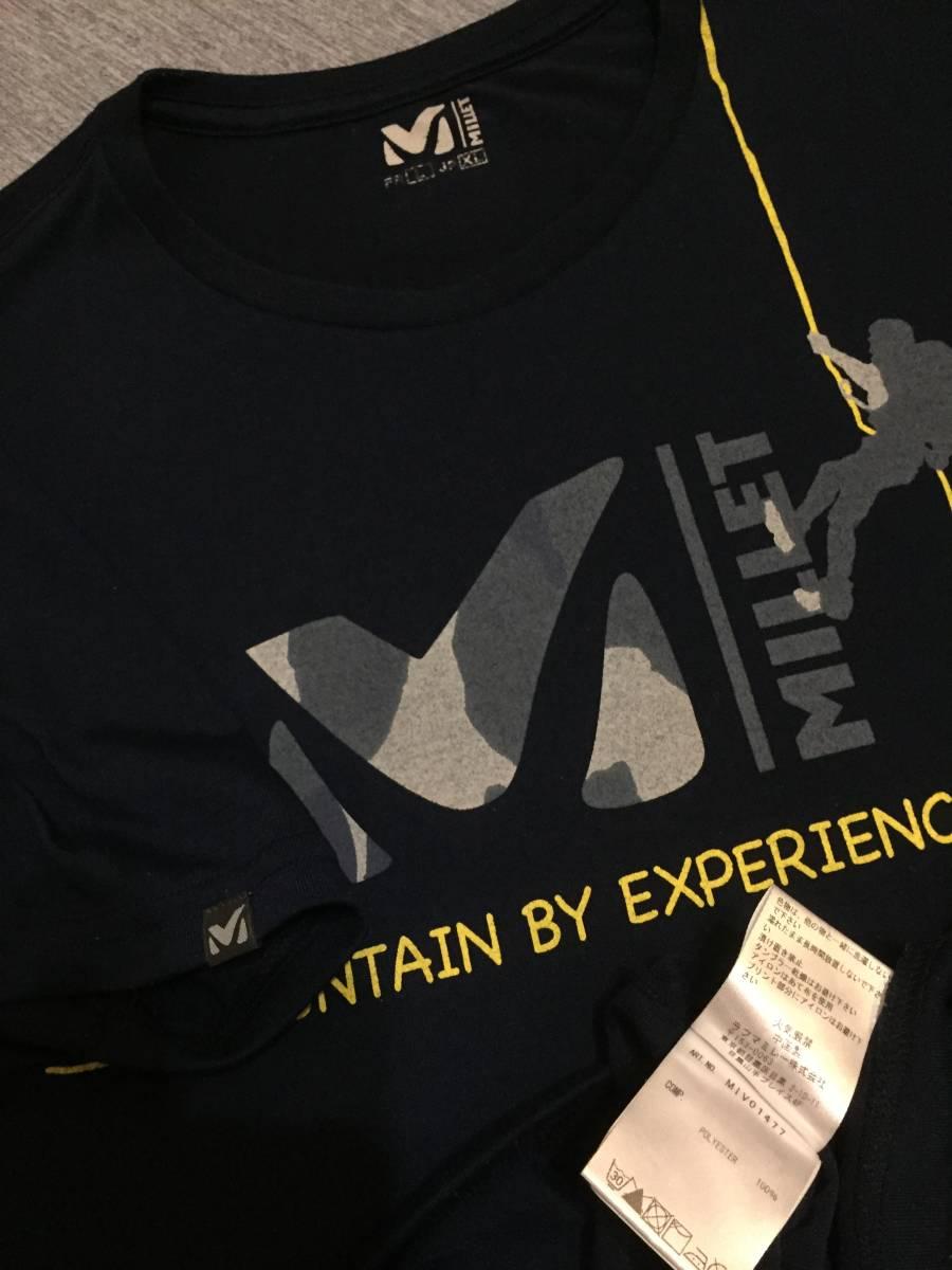 美品 MILLET ミレー トレッキング クルーネック 吸汗速乾 Tシャツ XLサイズ クライミング アウトドアアイテム 人気商品 ダークネイビー_画像5